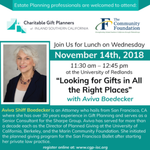 November 14, 2018- Looking for Gifts in all the Right Places @ University of Redlands